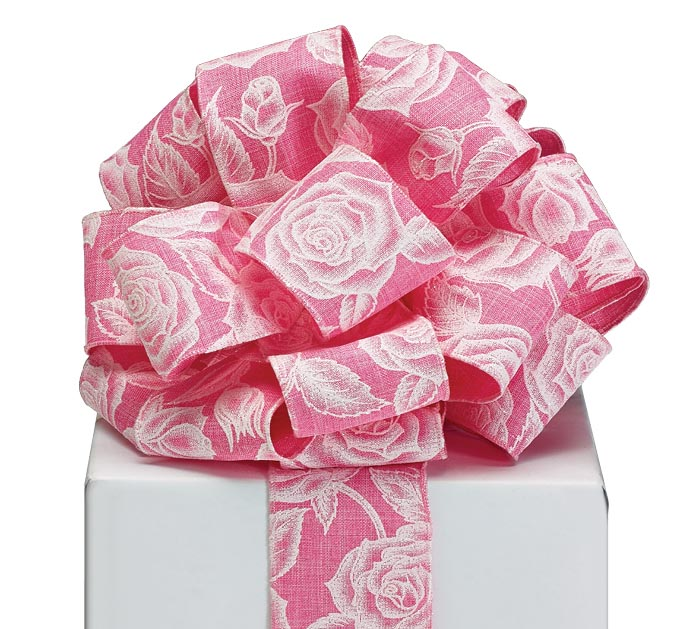 #40 ROSES ON PINK LINEN WIRED RIBBON