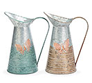 GALVANIZED TIN BUTTERFLY PITCHER SET