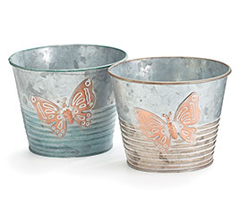 """4"""" GALVANIZED TIN BUTTERFLY POT COVER SE"""