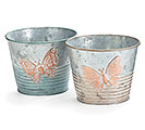 "4"" GALVANIZED TIN BUTTERFLY POT COVER SE"