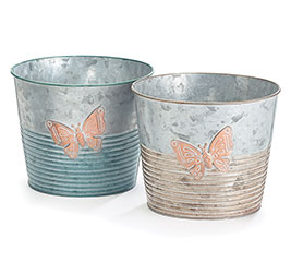 "6"" GALVANIZED TIN BUTTERFLY POT COVER SE"