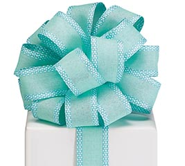 #9 AQUA LINEN W/SWISS DOT WIRED RIBBON