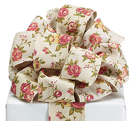 #40 PINK ROSEBUDS ON LINEN WIRED RIBBON