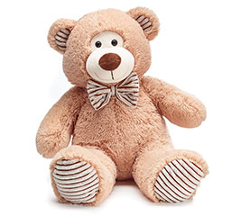 PLUSH BEIGE FUR/CORDUROY BEAR