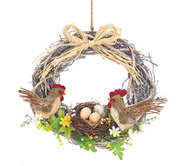 "15"" CHICKEN WITH EGGS IN NEST WREATH"