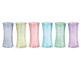 VASE GLASS SPRING RIBBED HOURGLASS SHAPE