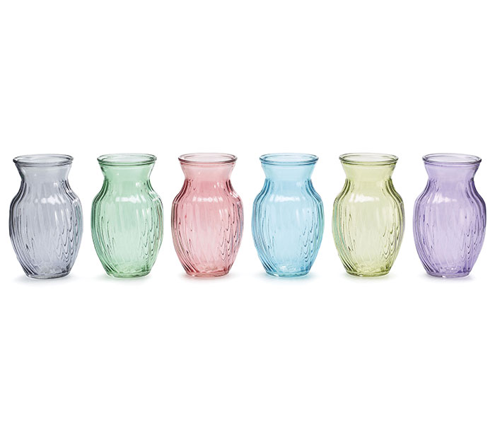 VASE GLASS SPRING COLORS GINGER SWIRL