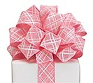 #9 HOT PINK LATTICE WIRED LINEN RIBBON