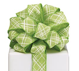#9 GREEN LATTICE WIRED LINEN RIBBON