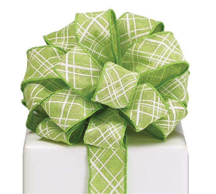 #9 GREEN LATTICE WIRED LINEN RIBBON