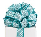 #9 TURQUOISE LATTICE WIRED LINEN RIBBON