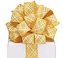 #9 YELLOW LATTICE WIRED LINEN RIBBON