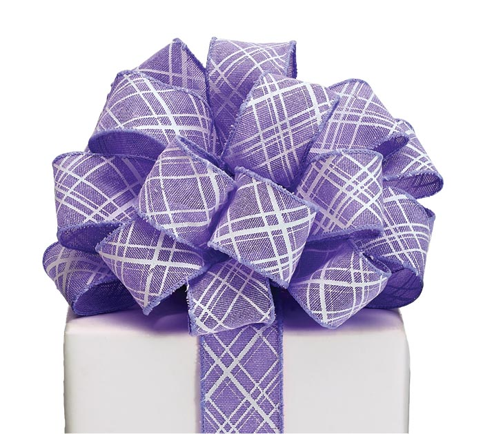 #9 PURPLE LATTICE WIRED LINEN RIBBON