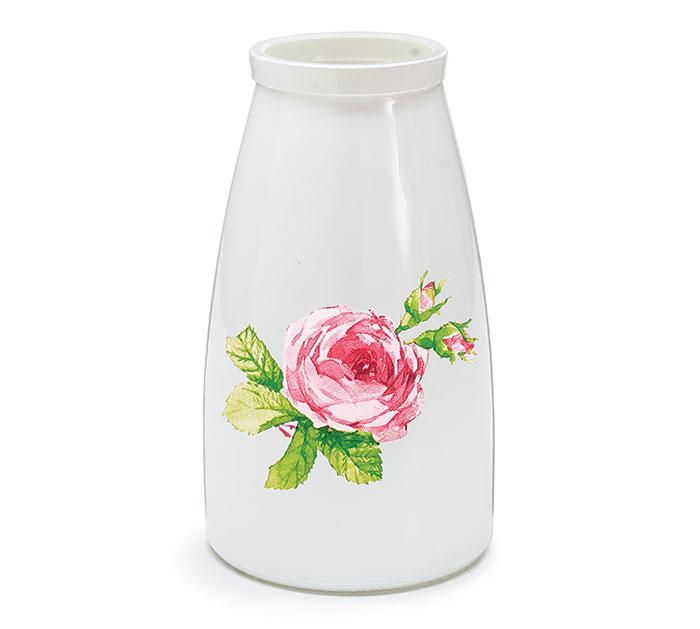 VASE GLASS ROSE ON FRONT WHITE VASE
