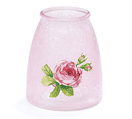 VASE GLASS PINK WITH ROSE ON FRONT