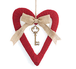 OPEN BURLAP HEART/KEY CHARM WALL HANGING