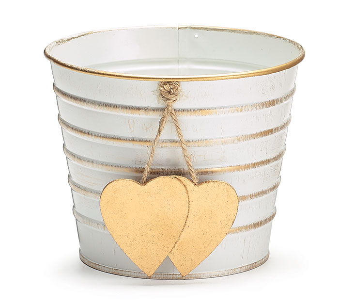 "4"" WHITE/GOLD STRIPPED W HEART POT COVER"