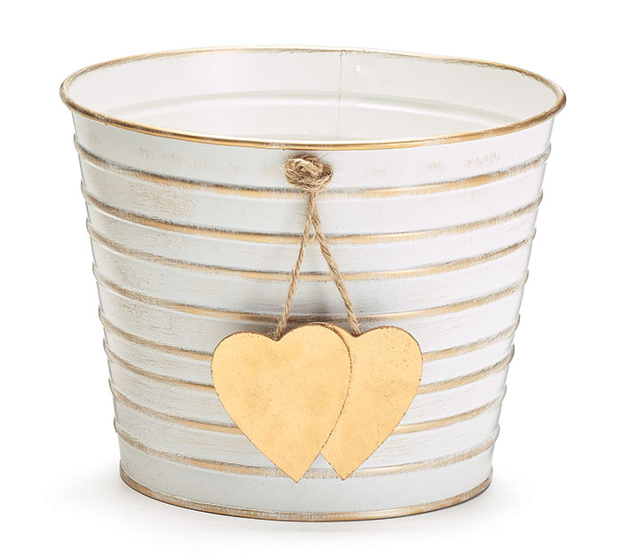 "6"" WHITE/GOLD STRIPPED W HEART POT COVER"