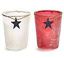 VASE GLASS PATRIOTIC WHITE/RED BLUE STAR