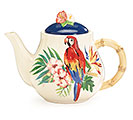 TROPICAL ISLAND PARROT CERAMIC TEAPOT