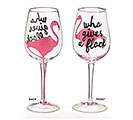 WHO GIVES A FLOCK FLAMINGO WINE GLASS