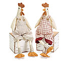 FABRIC ROOSTER SHELF SITTER PAIR