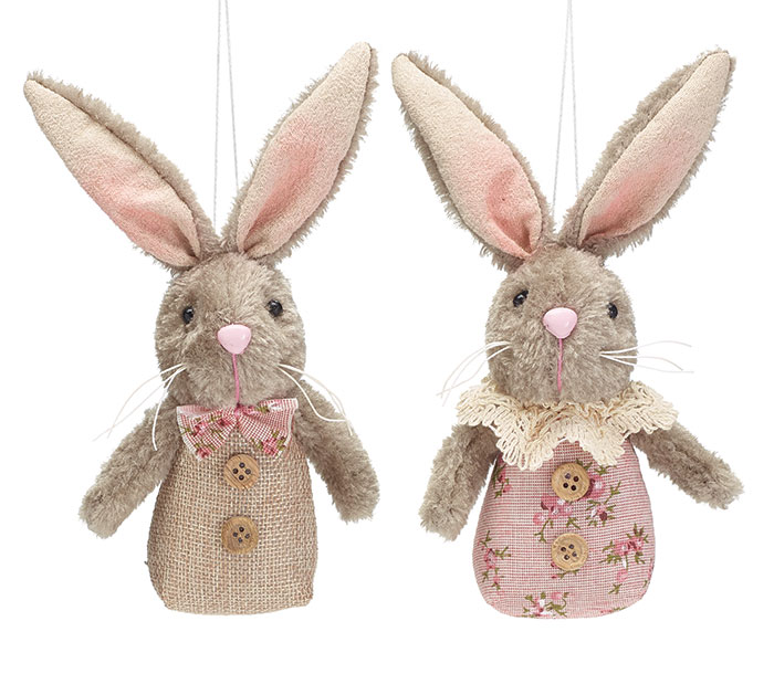 12 PIECE PLUSH BUNNY COUPLE ORNAMENT SET
