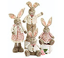 4 PIECE PLUSH DRESSED BUNNY FAMILY SET