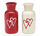 RED/WHITE HEART BOTTLE VASE SET