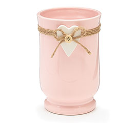 SOFT PINK CERAMIC VASE WITH WHITE HEART