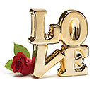 "GOLD METALIC CERAMIC STACKED ""LOVE"""