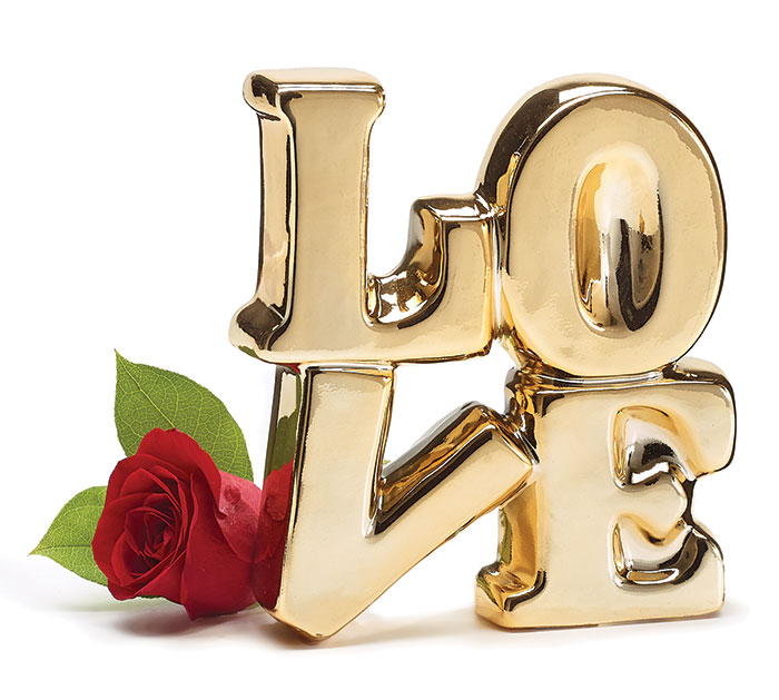 "GOLD METALIC CERAMIC STACKED ""LOVE"""