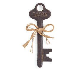 DARK BROWN RESIN KEY SHAPE DECOR