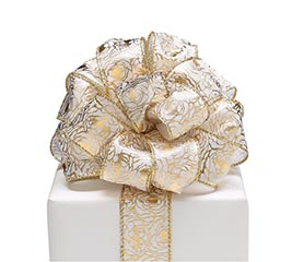 #9 GOLD PRECIOUS PEONIES WIRED RIBBON