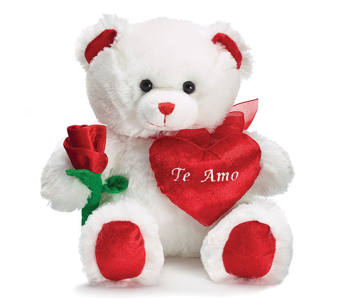 WHITE/RED PLUSH VALENTINE BEAR WITH ROSE