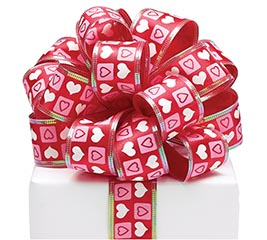#9 PINK/WHITE HEARTS ON RED WIRED RIBBON