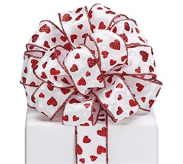 #9 RED GLITTER HEARTS SATIN WIRED RIBBON