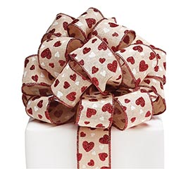 #9 KHAKI/RED HEARTS WIRED RIBBON