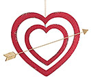 DOUBLE TIN HEART W/ ARROW WALL HANGING