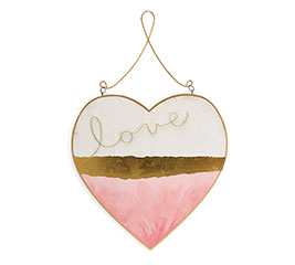 PINK/GOLD LOVE HEART WALL HANGING