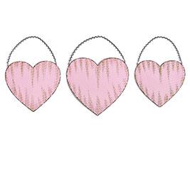 PINK EMBOSSED TIN HEART WALL HANGING SET