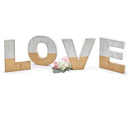 "WOOD WHITE/GOLD ""LOVE"" LETTER DECOR"