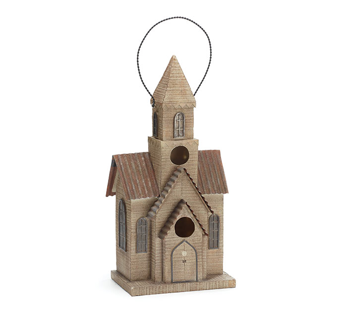 WOODLIKE RESIN CHURCH BIRDHOUSE