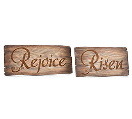 REJOICE/RISEN WOOD BURNED DECOR