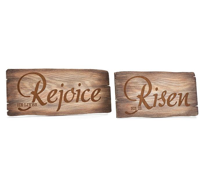 REJOICE/RISEN WOOD BURNED DECOR