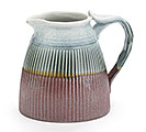 BLUE/BROWN PORCELAIN RIBBED PITCHER