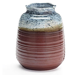 SPECKLED BLUE/BROWN PORCELAIN VASE