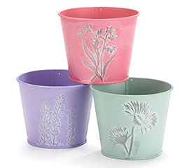 """4"""" SPRING EMBOSSED FLOWERS TIN POT COVER"""