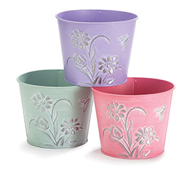 """6"""" SPRING EMBOSSED FLOWERS TIN POT COVER"""