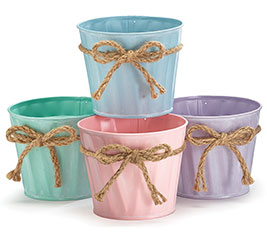 "4"" PASTEL TIN POT COVER SET W/ TWINE BOW"